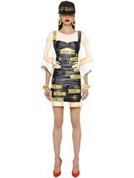 Moschino Belted Trompe L'oeil Print Jersey Dress
