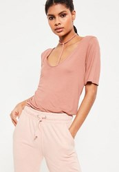 Missguided Tall Pink Harness Detail T Shirt Brown