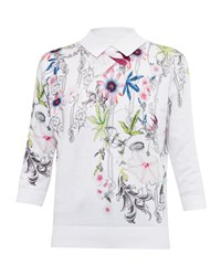 Ted Baker Kikka Passion Flower Cotton Collared Jumper Ivory