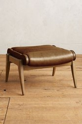 Anthropologie Premium Leather Roadway Ottoman Caramel
