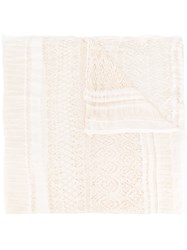Faliero Sarti Lace Scarf Women Polyester Viscose One Size Nude Neutrals