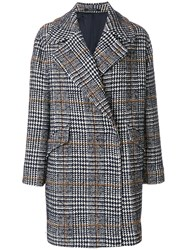 Tagliatore Houndstooth Coat Women Cotton Acrylic Polyamide Alpaca 48 Blue