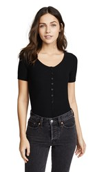 Getting Back To Square One Short Sleeve Henley Bodysuit Black