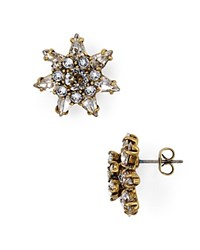 Marc Jacobs Pointy Strass Flower Stud Earrings Gold