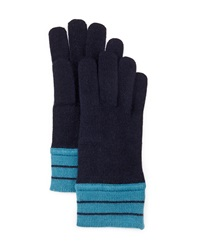 Portolano Minerva Striped Cuff Gloves Navy Teal