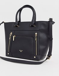 Dune Oversize Black Tote With Gold Zip Detail