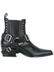 Diesel Black Gold Buckled Ankle Boots Black