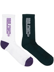 Guess Logo Intarsia Cotton Blend Socks Purple