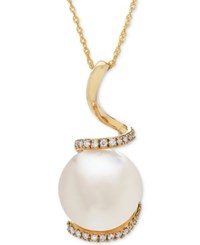 Honora Style Cultured White Ming Pearl 13Mm And Diamond 1 8 Ct. T.W. Pendant Necklace In 14K Gold Yellow Gold
