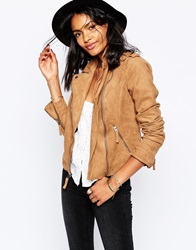 Abercrombie And Fitch Faux Suede Vintage Look Biker Jacket Brown
