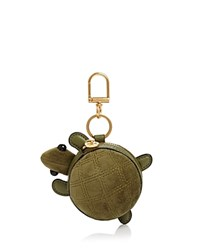Tory Burch Turtle Leather Coin Pouch Key Fob Secret Garden Gold