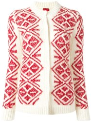 Moncler Gamme Rouge Geometric Pattern Cardigan Nude Neutrals