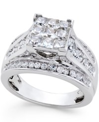 Macy's Diamond Square Shape Ring 2 Ct. T.W. In 14K White Gold No Color