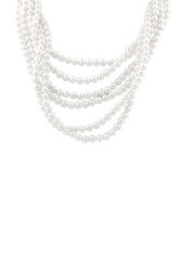 6 7Mm Shell Pearl 6 Row Necklace White