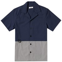 Tim Coppens Cut And Sew Stripe Panel Bowling Shirt Blue