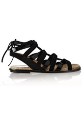 Paul Andrew Lace Up Patent Leather And Suede Sandals Black
