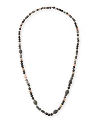 Hipchik Amy Beaded Long Necklace Gray Pink