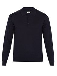 Editions M.R Long Sleeved Wool Polo Shirt Dark Navy