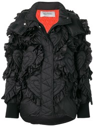 Valentino Embroidered Down Jacket Black