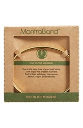 Mantraband Women's Live In The Moment Engraved Cuff Gold
