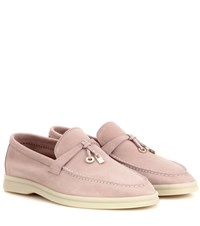 Loro Piana Summer Charms Walk Suede Loafers Pink