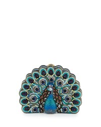 Judith Leiber Peacock Crystal Minaudiere Multicolor Multi Colors