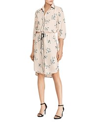 Ralph Lauren Floral Print Georgette Shirt Dress Pink Multi