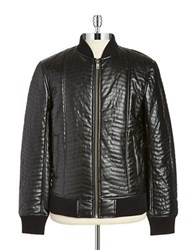Guess Quilted Faux Leather Bomber Jacket Black