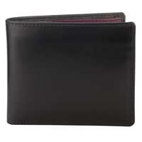 Launer Leather Bi Fold 8 Card Wallet Black