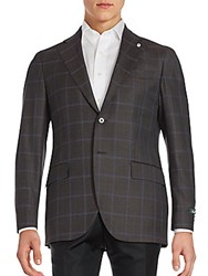 Lubiam Windowpane Wool Sportcoat Charcoal