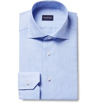 Ermenegildo Zegna Blue Slim Fit Cutaway Collar End On End Cotton Shirt Blue