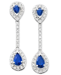 Macy's 14K White Gold Sapphire 9 10 Ct. T.W. And Diamond 1 3 Ct. T.W. Drop Earrings