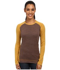Smartwool Nts Mid 250 Pattern Crew Top Sunglow Heather Women's Long Sleeve Pullover Brown