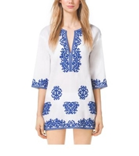 Michael Kors Embroidered Cotton Tunic White Royal