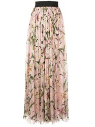Dolce And Gabbana Lily Print Long Skirt Pink