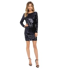 Jessica Simpson Long Sleeve Sequin Dress Navy Women's Dress