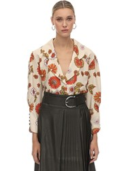 Dodo Bar Or Printed Crepe De Chine Blouse Ivory