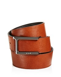 Tumi T Buckle Leather Reversible Belt Gun Metal