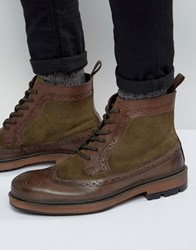Frank Wright Brogue Boot In Brown Leather Brown