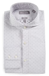 Michael Bastian Men's Big And Tall Trim Fit Graphic Dobby Dress Shirt White Grey Evening