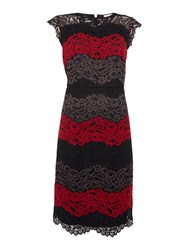 Linea Colourblock Lace Illusion Dress Multi Coloured