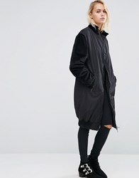 Asos Longline Coat With Contrast Velvet Sleeves Black