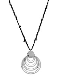 Robert Lee Morris Layered Ring Pendant Necklace Black Silver