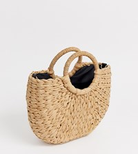 Warehouse Mini Grab Handle Bag In Straw Beige