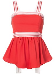C Meo Collective Striped Detail Peplum Top Red