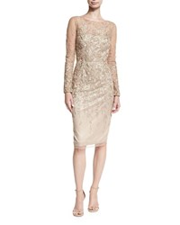 David Meister Long Sleeve Embroidered Metallic Lace Cocktail Dress Gold Multi
