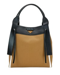 Prada Two Tone Leather Shoulder Bag With Side Gussets Brown Black