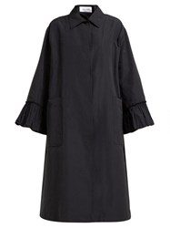 Valentino Flared Sleeve Cotton Blend Faille Coat Black