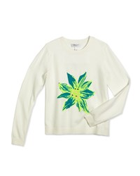 Milly Minis Embellished Intarsia Pullover Sweater White Green Size 8 14 Girl's Size 10 Leaf Green