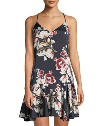 Philosophy Floral Charmeuse Strappy Dress Blue Pattern